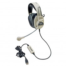 CAF3066USB - Deluxe Multimedia Stereo Headset W/ Boom Microphone W/ Usb Plug in Headphones