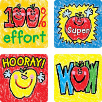 CD-0602 - Stickers Apples Kid-Drawn 120/Pk Acid & Lignin Free in Stickers