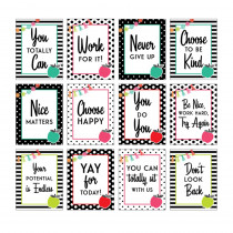 Black, White & Stylish Brights Mini Posters, Set of 12 - CD-106025 | Carson Dellosa Education | Classroom Theme