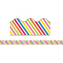 CD-108258 - School Pop Rainbow Stripe Scalloped Border in Border/trimmer
