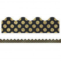 CD-108317 - Gold Glitter Dots Scalloped Borders Sparkle And Shine in Border/trimmer