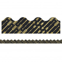 CD-108318 - Gld Glitter Arrows Scalloped Border Sparkle And Shine in Border/trimmer