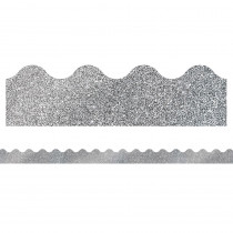 CD-108323 - Silver Glitter Scalloped Borders Sparkle And Shine in Border/trimmer