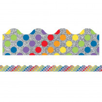 CD-108324 - Rainbow Dots On Glitter Border Sparkle And Shine Scalloped in Border/trimmer