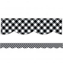CD-108363 - Woodland Whimsy Scalloped Borders Black & White Gingham in Border/trimmer