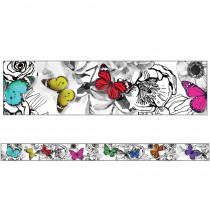 CD-108365 - Butterflies Straight Borders Woodland Whimsy in Border/trimmer