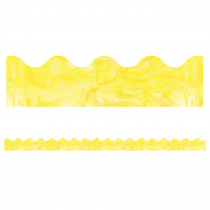 CD-108370 - Watercolor Yellow Scalloped Borders Celebrate Learning in Border/trimmer