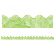 CD-108371 - Watercolor Green Scalloped Borders Celebrate Learning in Border/trimmer