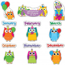CD-110227 - Colorful Owls Birthday Bulletin Board Set in Classroom Theme