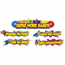 CD-110315 - Super Power Super Work Habits Bulletin Board Set in Classroom Theme