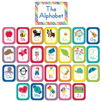 CD-110392 - Just Teach Alphabet Cards Bulletin Board Set School Girl Style in Classroom Theme