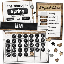 CD-110398 - Industrial Chic Calendar Bulletin Board Set School Girl Style in Miscellaneous