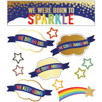 CD-110433 - We Were Born To Sparkle Mini Bb St Sparkle And Shine in Classroom Theme