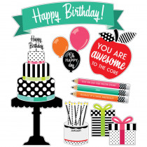 Black, White & Stylish Brights Birthday Bulletin Board Set - CD-110498 | Carson Dellosa Education | Classroom Theme