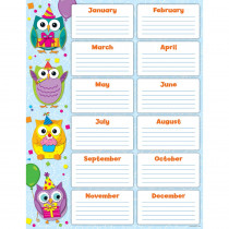 CD-114199 - Colorful Owls Birthday Chart in Classroom Theme