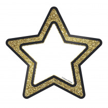 CD-120243 - Gold Glitter Stars Cut Outs Sparkle And Shine in Accents