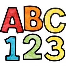 CD-130085 - Watercolor 4In Ez Letters Celebrate Learning in Letters