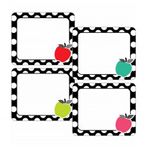Black, White & Stylish Brights Apple Name Tags, Pack of 40 - CD-150077 | Carson Dellosa Education | Name Tags