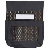 CD-158181 - Chairback Buddy Black W/ Gold Polka Dots in Storage