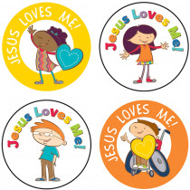CD-168160 - Jesus Loves Me Stickers 72 Pc in Inspirational