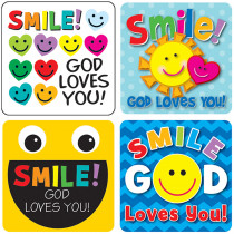 CD-168167 - Smile God Loves You Stickers in Inspirational