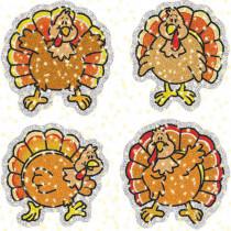 CD-2830 - Dazzle Stickers Turkeys 60Pk Acid & Lignin Free in Holiday/seasonal