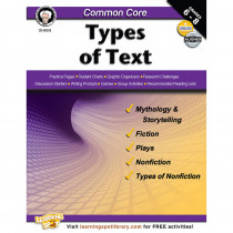 CD-404218 - Gr 6-8 Common Core Types Of Text Book in Reading Skills