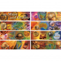 CD-410046 - Maps And Globes Bulletin Board Set Gr 4-8 8 Strips 21X6in Long in Social Studies