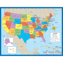 CD-6333 - Chartlet Map Of The Us 17 X 22 17 X 22 in Social Studies