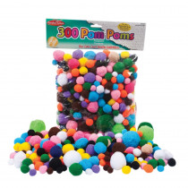 CHL69330 - Pom Poms Asst Sizes & Colors 300Ct in Craft Puffs
