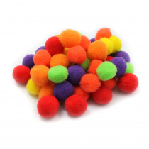 CHL69516 - Pom Poms 1In Hot Colors 50Ct in Craft Puffs