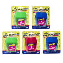 3 Hole Pencil Sharpener w/catcher, Assorted Colors - CHL76548ST | Charles Leonard | Pencils & Accessories