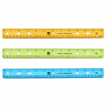 Ruler - Plastic - 12 - Flat - UPC Coded - Translucent Assorted Colors - CHL80336 | Charles Leonard | Rulers""