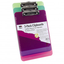 Clipboard - Plast/Transp w/Low Profile Clip - Ltr - Assorted Neon Colors, 3/Pk - CHL89775 | Charles Leonard | Clipboards