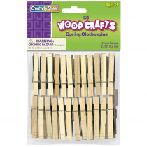 "Spring Clothespins, Natural, Extra-Large, 3-3/8"", 50 Pieces"