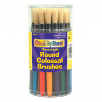 CK-5168 - Colossal Round Wood Handle Brush Assortment-Multi in Paint Brushes