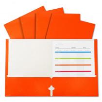 2-Pocket Laminated Paper Portfolios with 3-Hole Punch, Orange, Box of 25 - CLI06312 | C-Line Products Inc | Folders