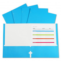 2-Pocket Laminated Paper Portfolios with 3-Hole Punch, Blue, Box of 25 - CLI06315 | C-Line Products Inc | Folders