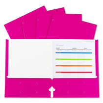 2-Pocket Laminated Paper Portfolios with 3-Hole Punch, Pink, Box of 25 - CLI06318 | C-Line Products Inc | Folders
