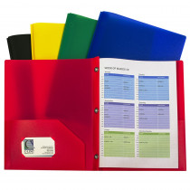 CLI32960 - Assorted Two Pocket Poly Portfolios With Prongs Pack Of 10 in Folders