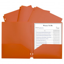 CLI33932 - 2 Pocket Poly Portfolio Orange W/ 3 Hole Punch in Folders