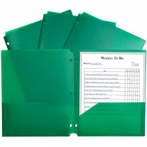 CLI33933 - 2 Pocket Poly Portfolio Green W/ 3 Hole Punch in Folders
