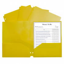 CLI33936 - 2 Pocket Poly Portfolio Yellow W/ 3 Hole Punch in Folders
