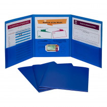 3-Pocket Poly Portfolio, Blue, Box of 24 - CLI33945 | C-Line Products Inc | Folders