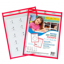 CLI40814 - C Line Reusable 9X12 Dry Erase Pockets Red Neon in Dry Erase Sheets