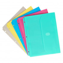 CLI58730 - Binder Pocket W/ Velcro Closure Assorted Colors in Folders