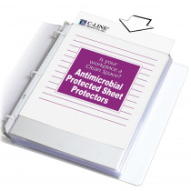 Heavyweight Poly Sheet Protectors with Antimicrobial Protection, Clear, Top Loading, 11 x 8-1/2, Box of 100 - CLI62033 | C-Line Products Inc | Sheet Protectors