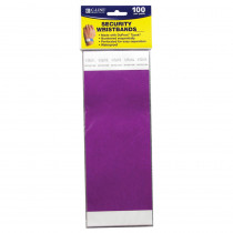 CLI89109 - C Line Dupont Tyvek Purple Security Wristbands 100Pk in Accessories