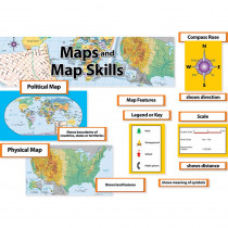 CTP3793 - Maps & Map Skills Mini Bulletin Board Set Gr 3-5 in Social Studies