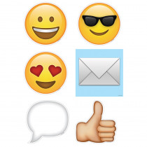 CTP6068 - Emojis 6 In Designer Cut Outs in Bulletin Board Ideas